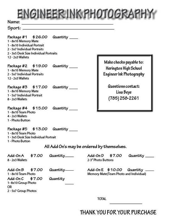 Sports Pricing Sheet