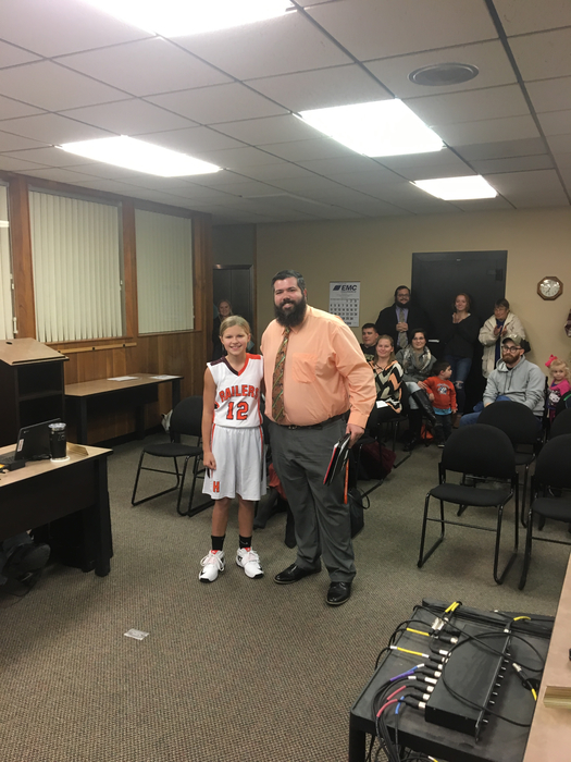 Harley Larosa, Middle School Student of the Month with Mr. Fox