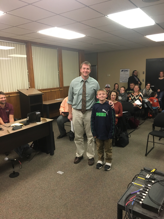 Ty Braucher, Elementary Student of the Month with Mr. Morgan